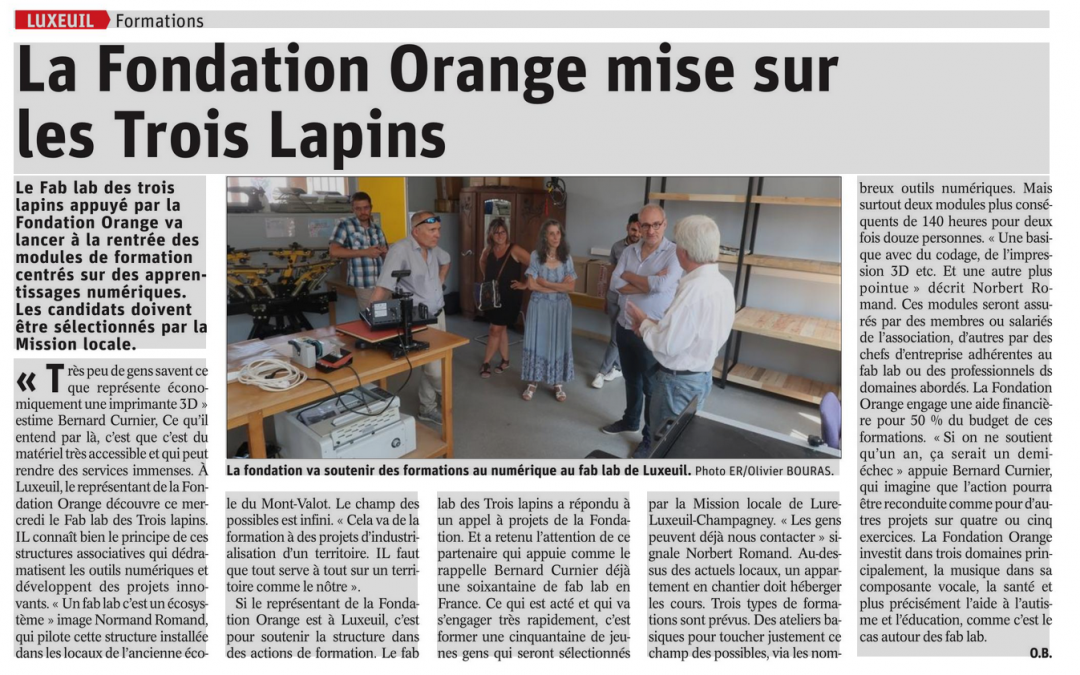 Formations: La Fondation Orange mise sur le Fablab des Trois Lapins